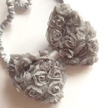 Rose Bow Hairband - Vintage Grey